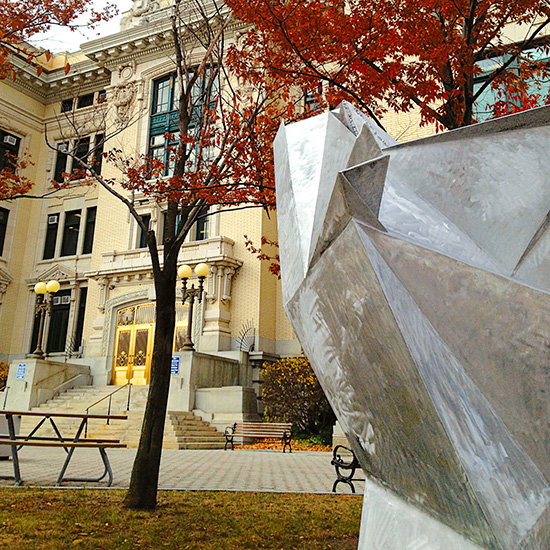 Facets (2011), detail, on site at Yonkers City Hall, Yonkers, NY